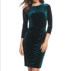 NWT Eliza J Ruched Green Velvet Dress 16W